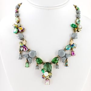 J. Crew Statement Necklace green grey pink hues